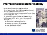 international researcher mobility