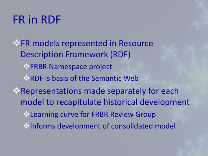 FR in RDF