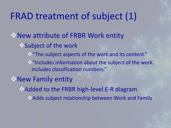 FRAD treatment of subject (1)