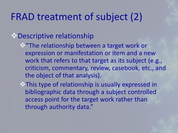 FRAD treatment of subject (2)