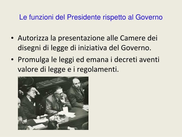 Le funzioni del Presidente rispetto al Governo
