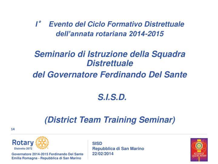 I°  Evento del Ciclo Formativo Distrettuale