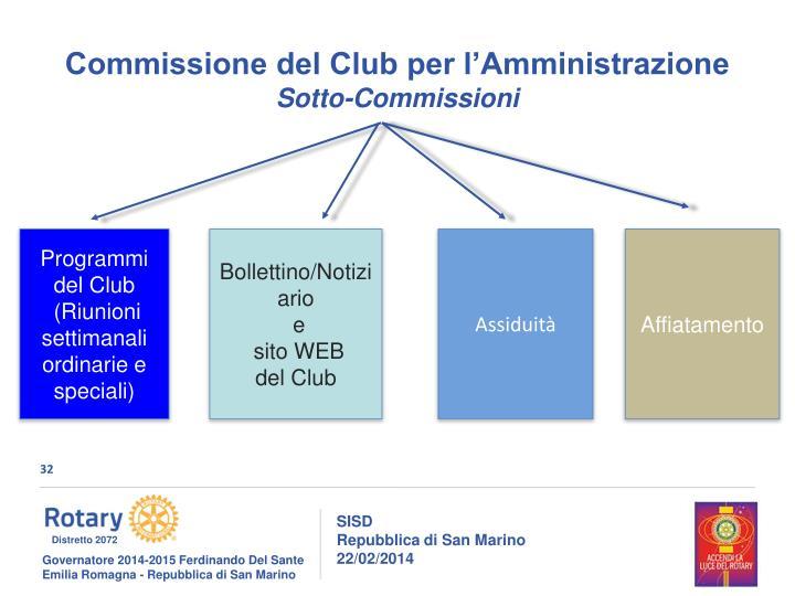 Commissione del Club per l'Amministrazione