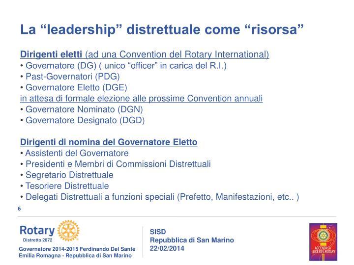 """La """"leadership"""" distrettuale come """"risorsa"""""""