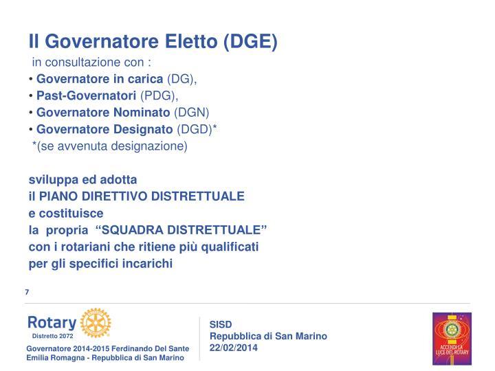 Il Governatore Eletto (DGE)