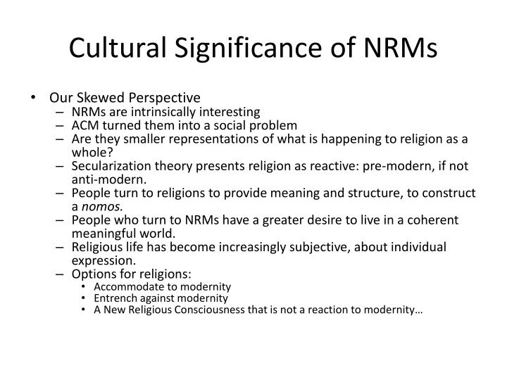 Cultural significance of nrms