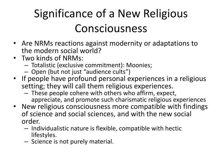 Significance of a new religious consciousness