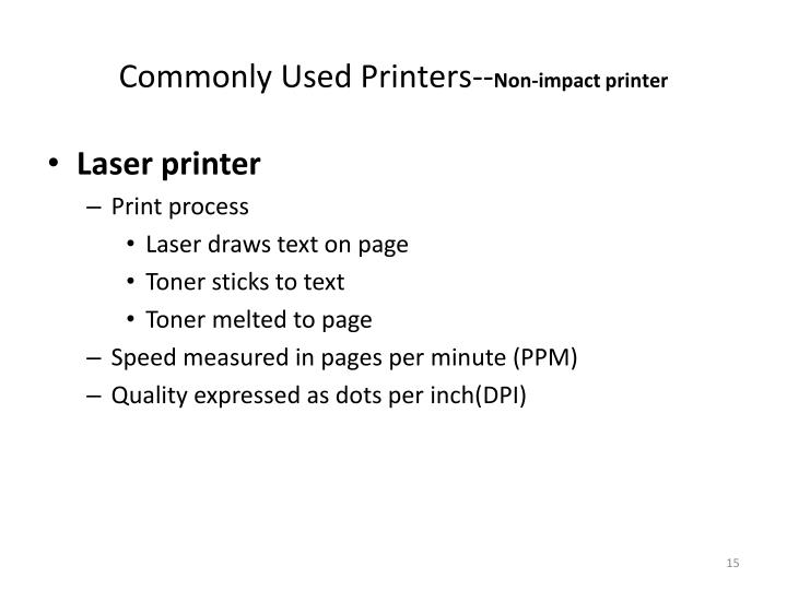 Commonly Used Printers--