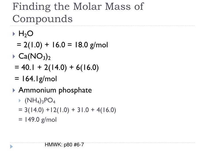 Finding the Molar Mass of Compounds