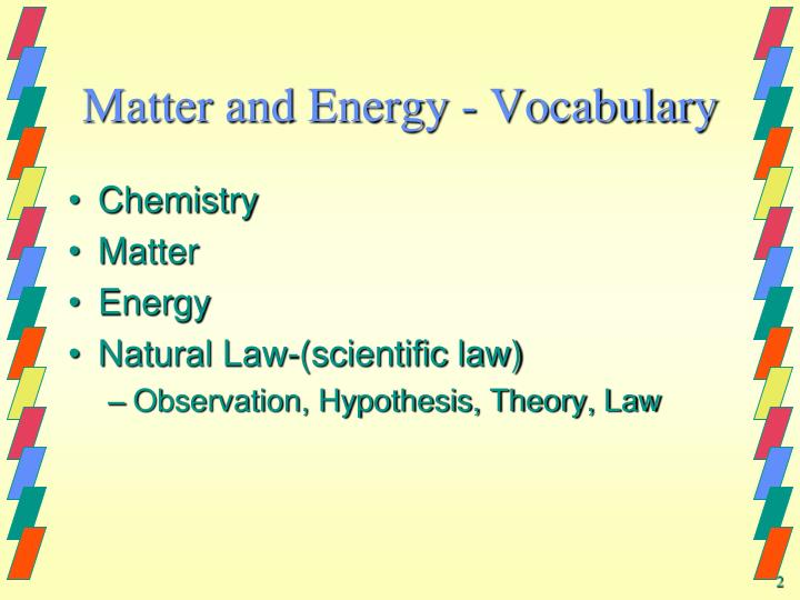 Matter and energy vocabulary