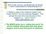 dcu faculty of science and health safe lab module 2 basic considerations for chemical reagent use1
