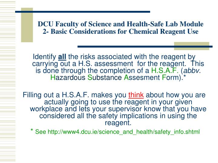 DCU Faculty of Science and Health-Safe Lab Module 2- Basic Considerations for Chemical Reagent Use