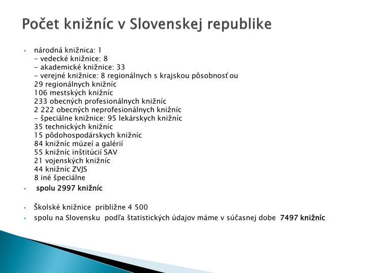 Počet knižníc v Slovenskej republike
