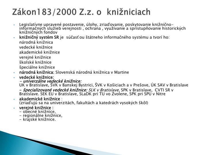 Zákon183/2000