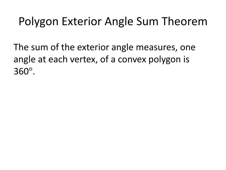 Polygon Exterior Angle Sum Theorem
