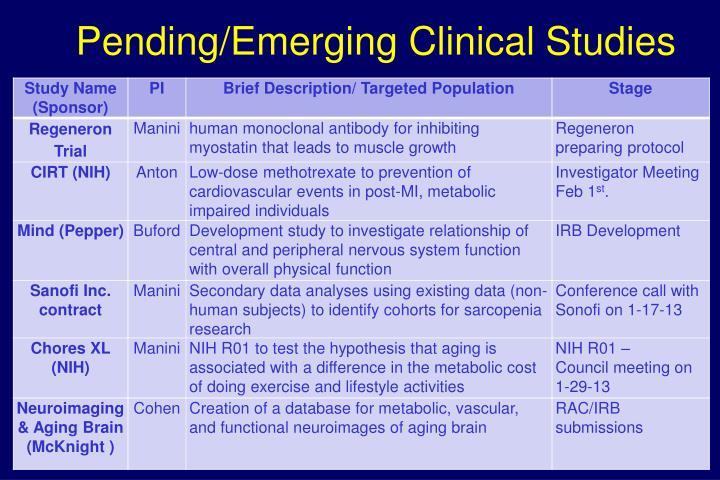 Pending/Emerging Clinical Studies