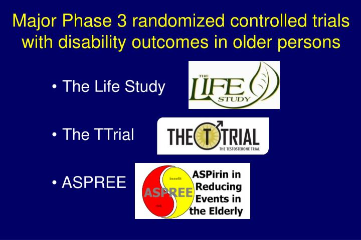 Major Phase 3 randomized controlled trials with disability outcomes in older persons