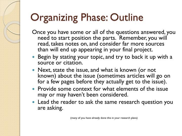 Organizing Phase: Outline
