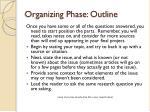 organizing phase outline