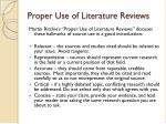 proper use of literature reviews