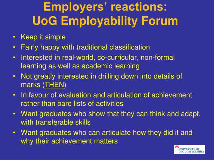 Employers reactions uog employability forum