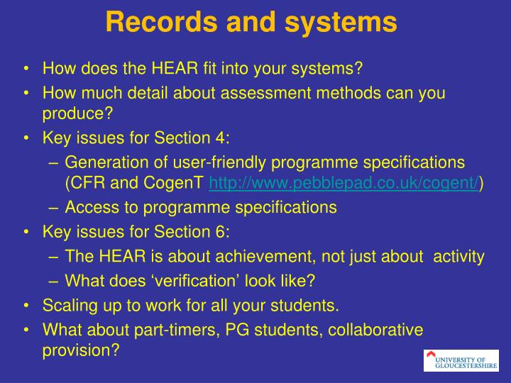 Records and systems