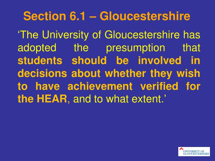 Section 6.1 – Gloucestershire