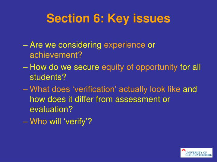Section 6: Key issues