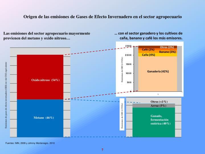 Origen de las emisiones de Gases de Efecto Invernadero en el sector agropecuario