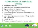 components of a learning system