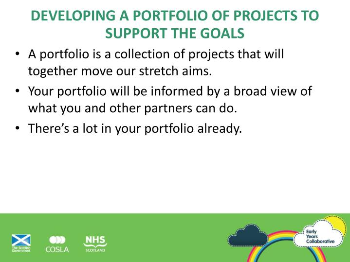 Developing a portfolio of projects to support the goals