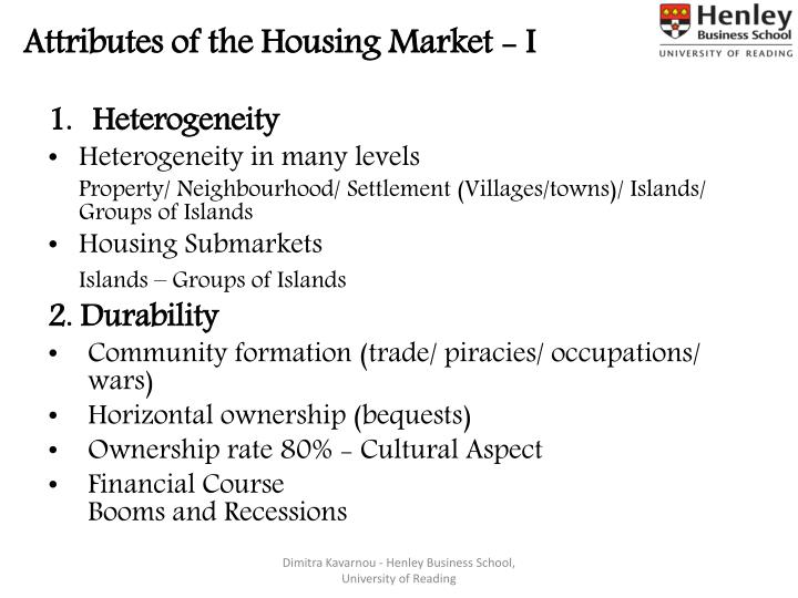 Attributes of the Housing Market - I