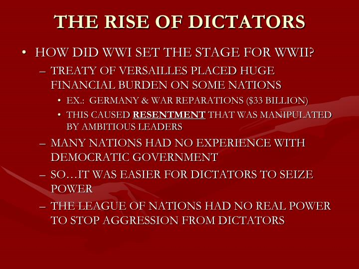 the rise of dictators 1930s Volunteers from around the globe converged on spain in the 1930s to help fend   fascist dictator benito mussolini ordered the italian army to invade ethiopia in .