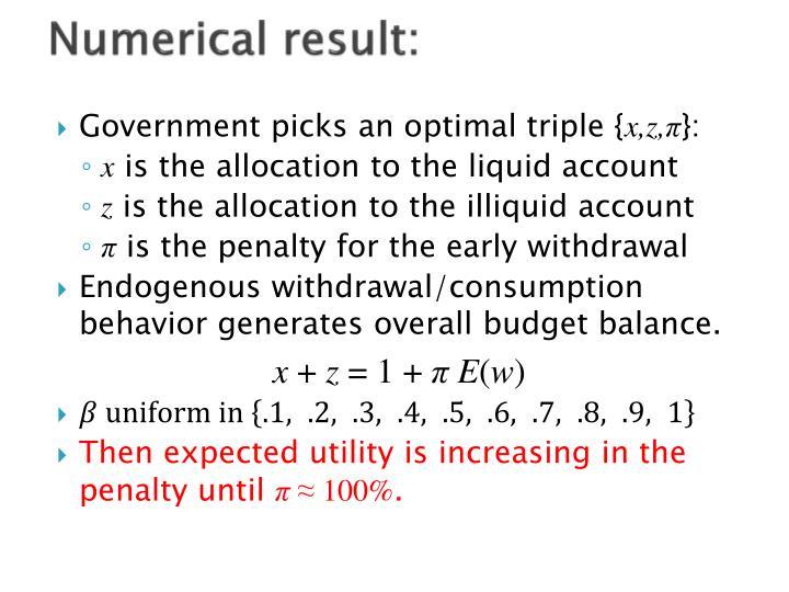 Numerical result: