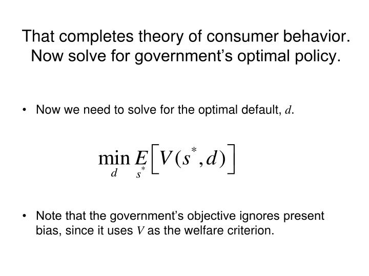 That completes theory of consumer behavior.