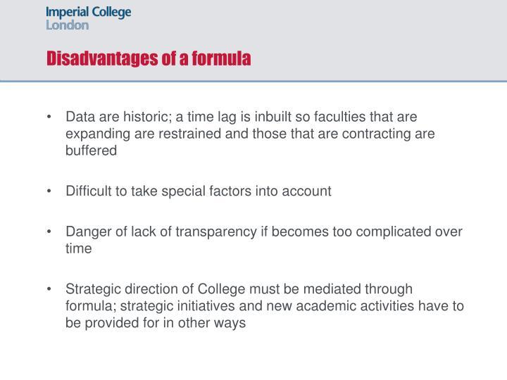 Disadvantages of a formula