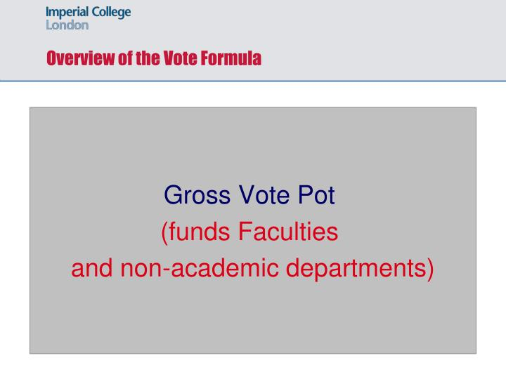 Overview of the Vote Formula