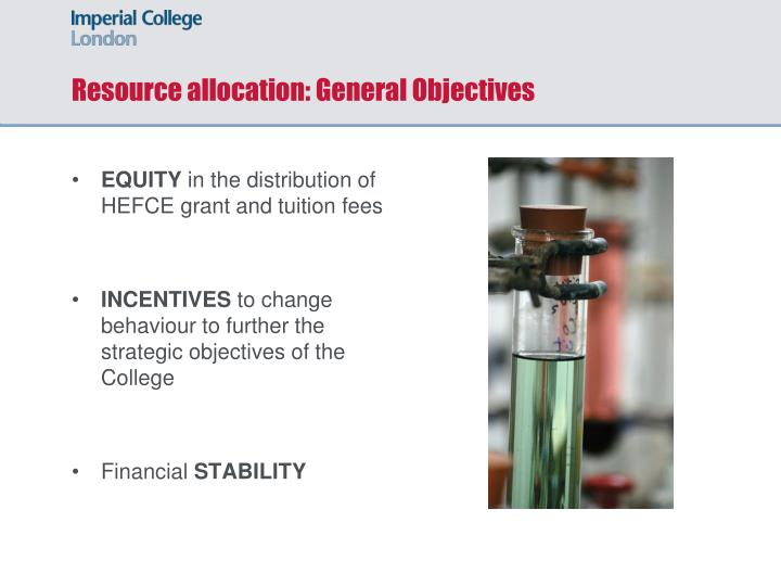 Resource allocation: General Objectives
