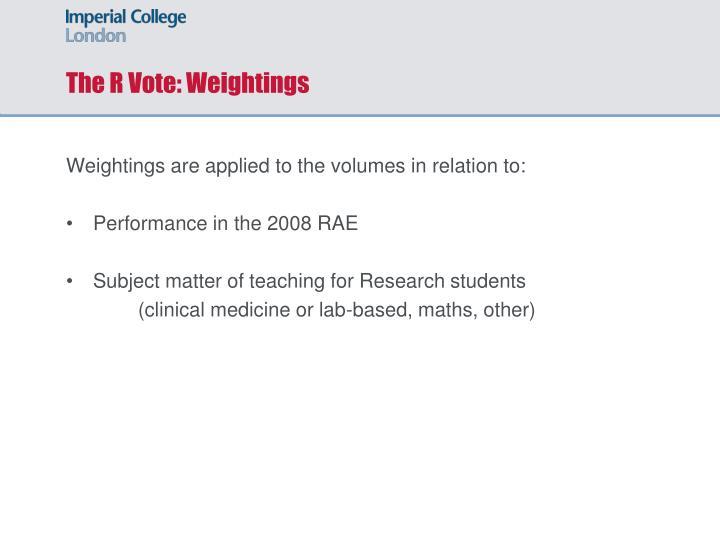 The R Vote: Weightings