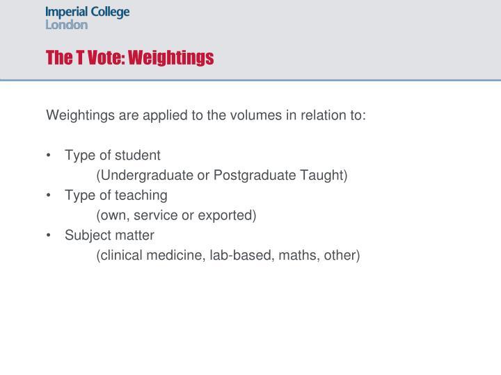 The T Vote: Weightings