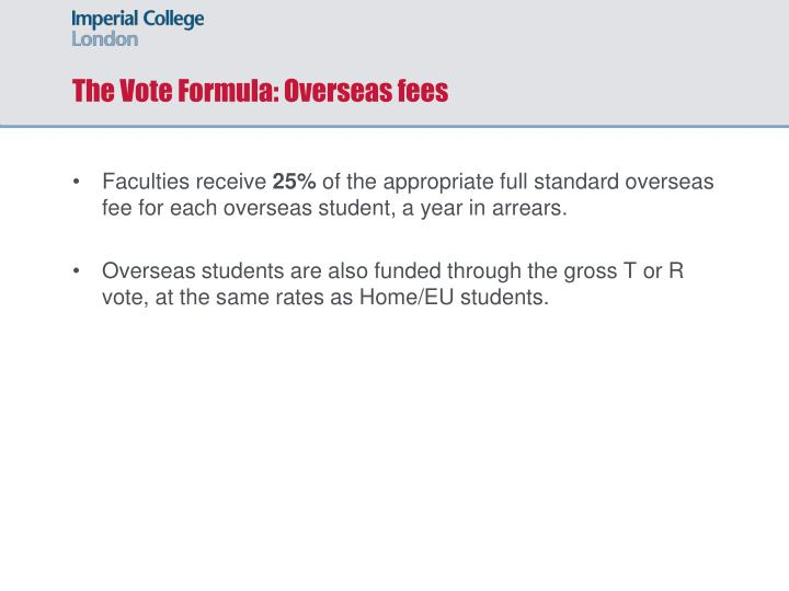 The Vote Formula: Overseas fees