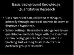 basic background knowledge quantitative research