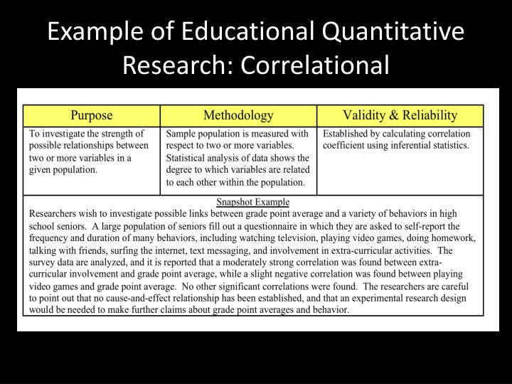 Example of Educational Quantitative Research: