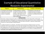 example of educational quantitative research experimental
