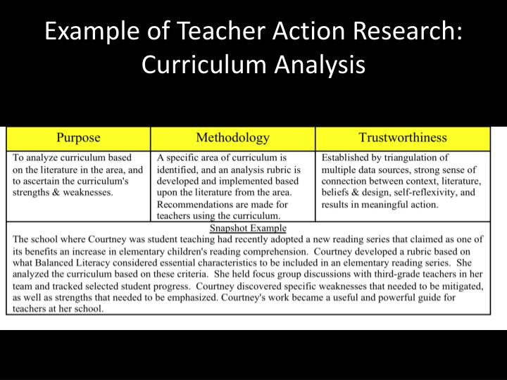 Example of Teacher Action Research: Curriculum Analysis