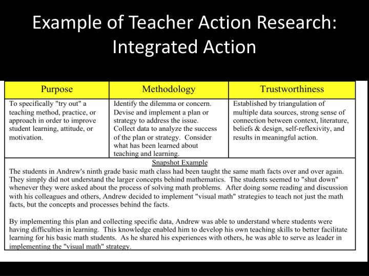 Example of Teacher Action Research: Integrated Action