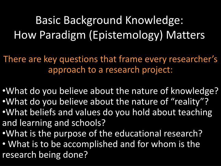Basic Background Knowledge: