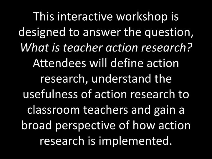This interactive workshop is designed to answer the question,