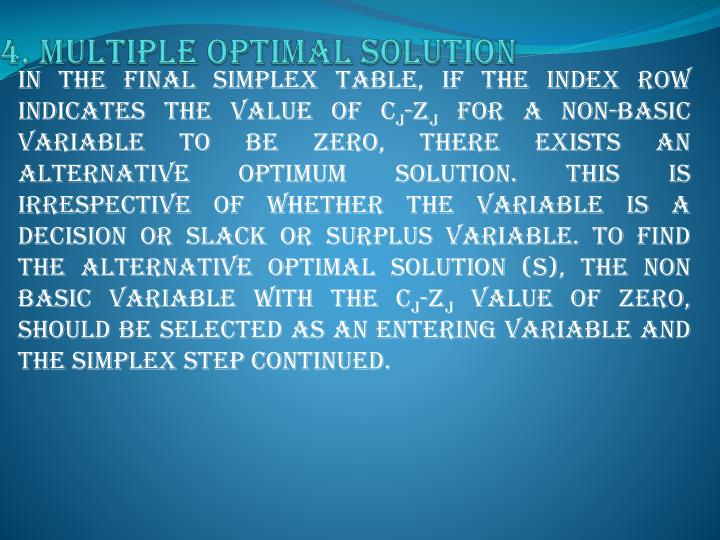 4. Multiple optimal solution