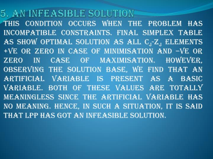 5. An infeasible solution